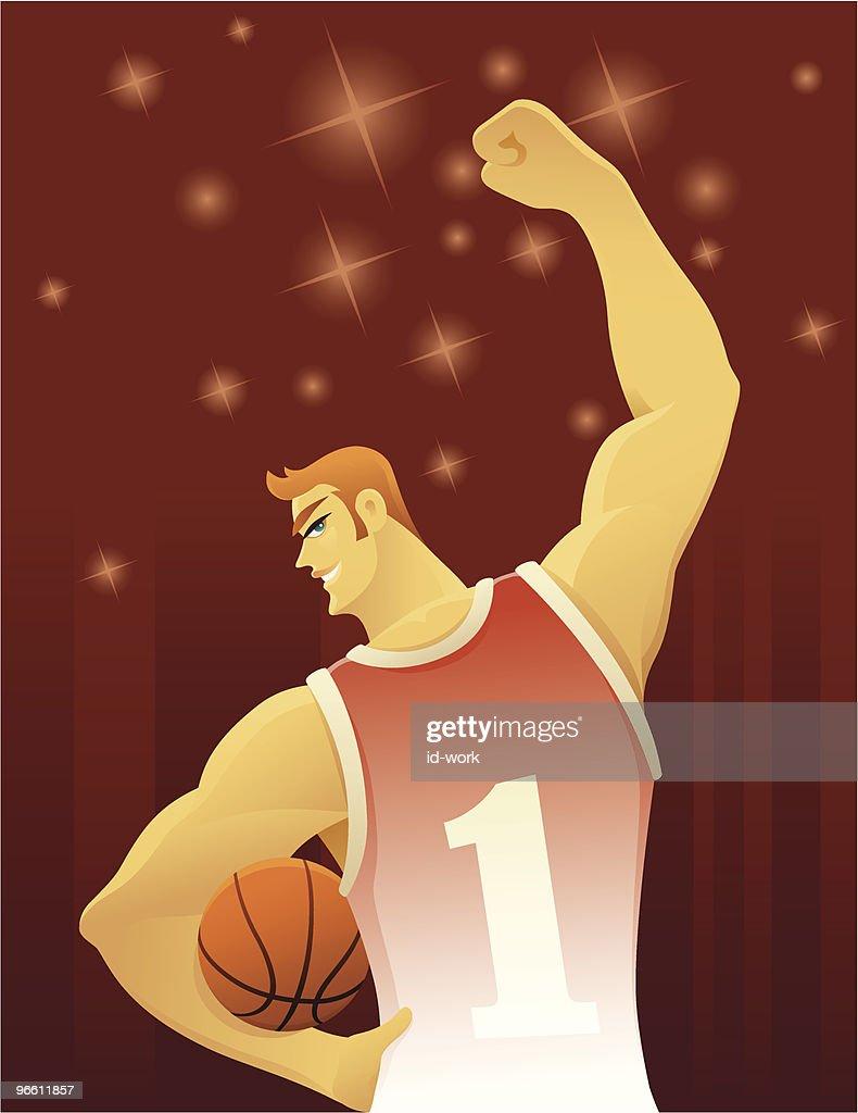 cheerful basketball player : Vector Art