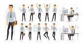 Cheerful businessman - vector cartoon people character set isolated on white background. Set of different poses, gestures for animation. Smiling handsome manager working in the office