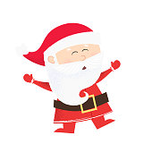 Cheerful cartoon Santa Claus dancing. Fun, action, success. Christmas concept. Can be used for greeting cards, posters, leaflets and brochure