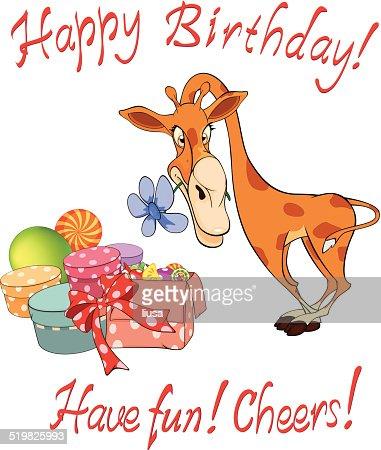 Frohlich Giraffe Und Geschenkverpackungen Geburtstag Comic