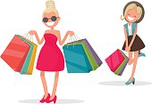 Cheerful girl with shopping. Fashionista