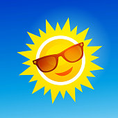 Cheerful, smiling cartoon sun in sunglasses on blue background. Vector illustration