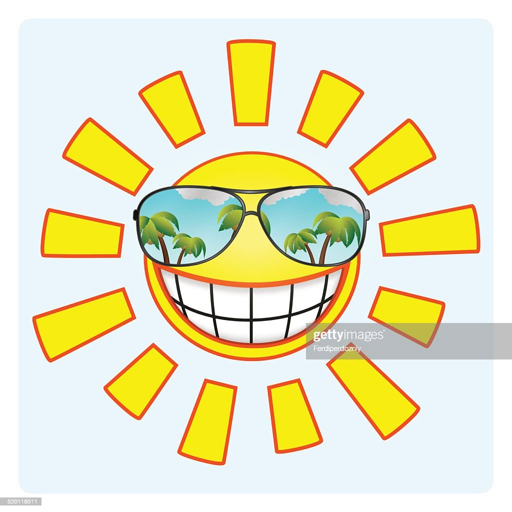 Smiling sun with sunglasses - Cheerful Smiling Sun Wearing Sunglasses Vector Art