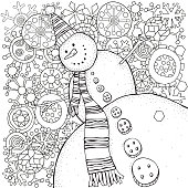 Cheerful snowman and snowflakes. Pattern for adult coloring book.