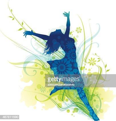 若い女性のシルエットに喜びRFシームレスなダンスのステップRF飛び散った女性RFレインボーシルエ