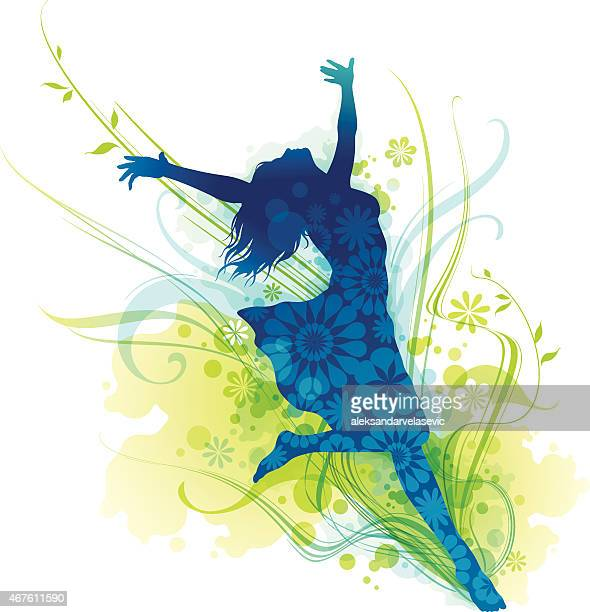 Cheerful Young Woman Silhouette Jumping For Joy