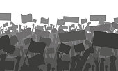 Silhouette of cheering or protesting crowd with flags and banners. Protest, revolution, conflict. Vector illustration