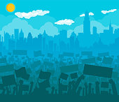 Silhouette of cheering or protesting crowd with flags and banners. Protest, revolution, conflict in big city. Cityscape, clouds, sun. Vector illustration