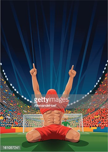 Cheering Soccer Player after Penalty : Vector Art