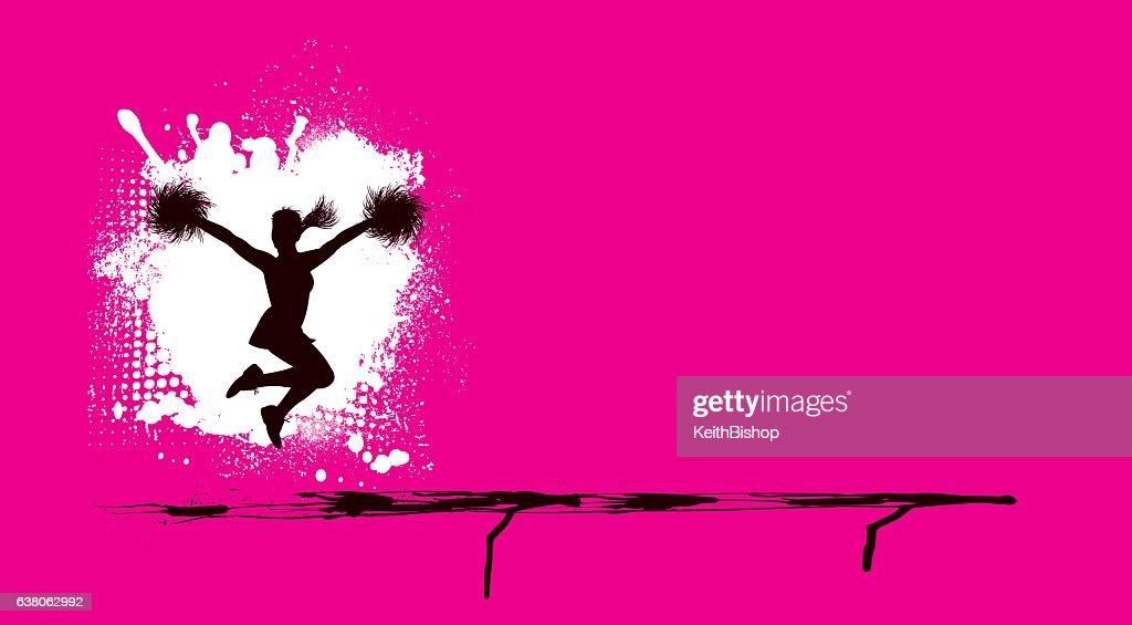 cheerleading grunge pink team sport background vector art
