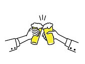 Two businessman's hand holding glasses of beer, to celebrate in concept of happy, special occasion, weekend, cheerful party, success. Outline, linear, hand drawing style. Simple design.