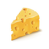 Cheese piece with holes vector 3D isolated illustration on white background. Emmental or Cheddar hard cheese slice, triangular piece with holes isolated icon with shadow for dairy food design