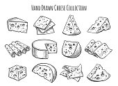 Cheese sketch set. Vector doodle collection of cheese pieces and slices