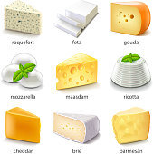 Cheese types icons detailed photo realistic vector set