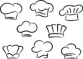 Chef and cook hats set isolated on white background