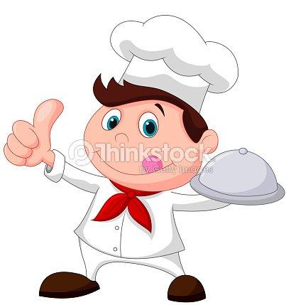 Chef cuisinier de dessin anim tenant un plateau de - Chef cuisinier dessin ...