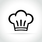 Illustration of chef hat icon on white background