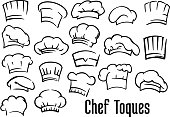 Chef or baker hats and toques set in cartoon style