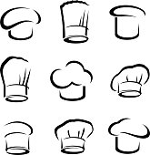 Collection chef hats set, edit size and color, vector