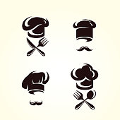 Collection chef set, edit size and color, vector