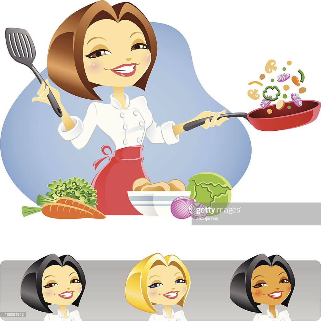 Chef Lady Cooking Vegetables With Skillet Vector Art ...