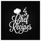 Chef recipes vintage lettering. Recipe book  on dark background 8 eps