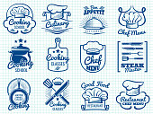 Chef retro labels collection - restaurant or cafe logos design. Vector illustration