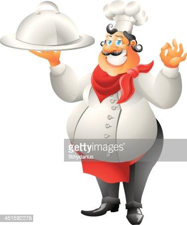 Französische küche comic  Chef Mit Teller Isoliert Vektorgrafik | Thinkstock