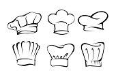 Set of Chef's hat vector illustration