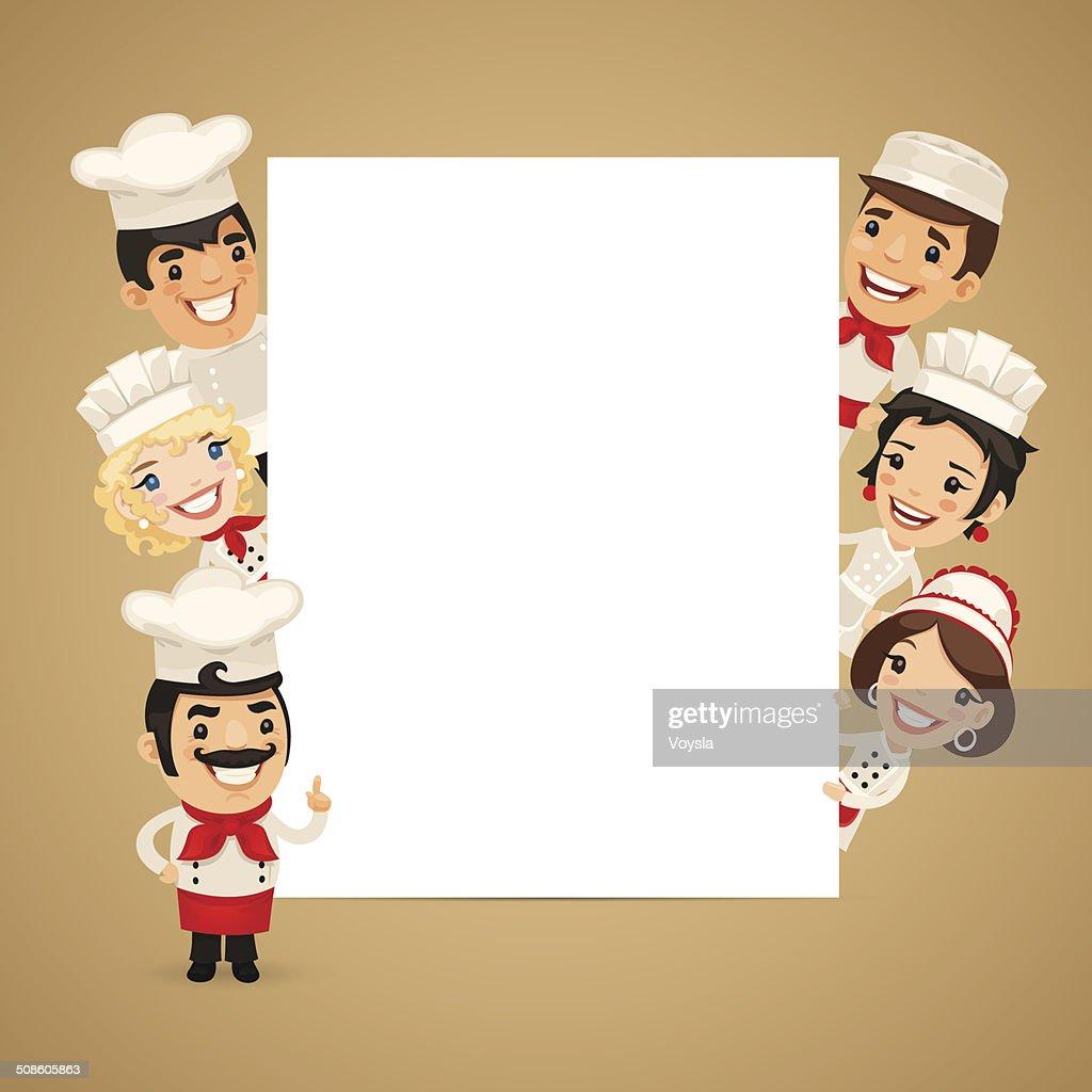 Chefs Presenting Empty Vertical Banner : Vector Art
