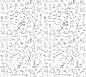Seamless pattern of chaotically located chemical formulas, records, doodles. Included in swatches window.