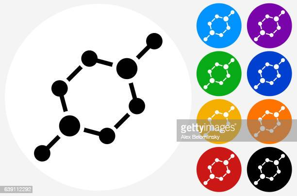 Chemical Bond Icon on Flat Color Circle Buttons