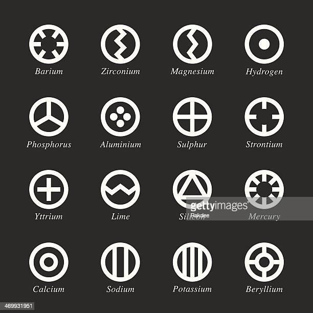 Chemical Element Symbole-Set 1-weiße Serie