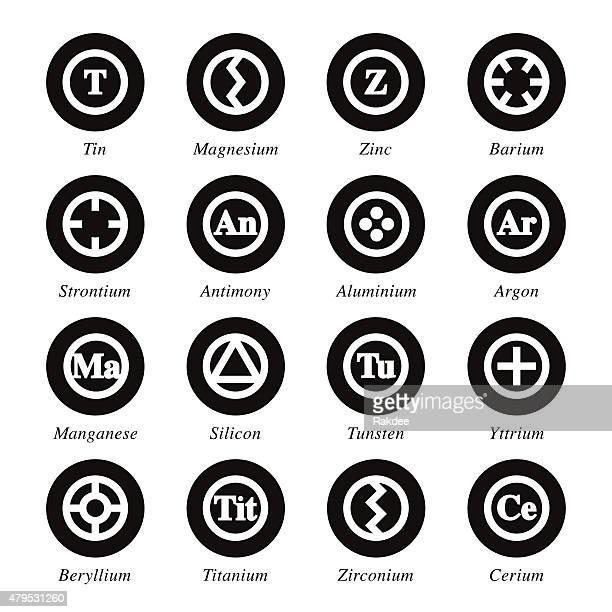 Chemical Element Symbole Set Kreis Serie-Schwarz 3