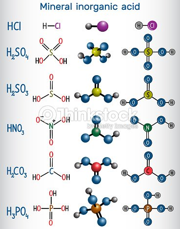 Chemical Formula And Molecule Model Mineral Inorganic Acid