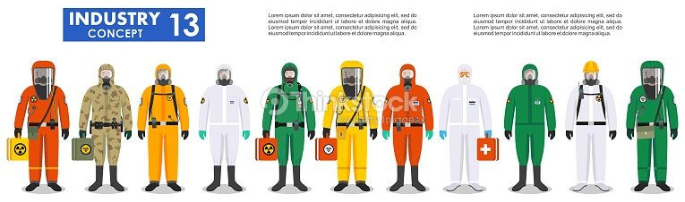 Group different workers in differences protective suits standing together  in row on 4362fad4320f