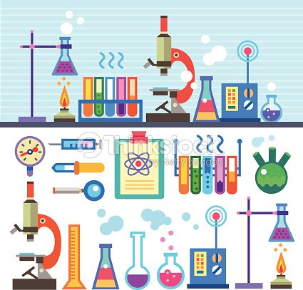 Laboratorio di chimica in stile piatto arte vettoriale for Sfondi chimica