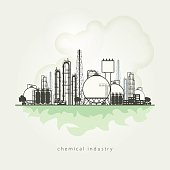 Illustration of a chemical plant or refinery processing of natural resources, or a plant for the manufacture of products. Chemical factory silhouette for industrial and technology design. Vector illus