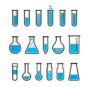 Chemical beaker icons set. Chemical lab equipment isolated on white. Test tubes wit blue fluid for science experiment.