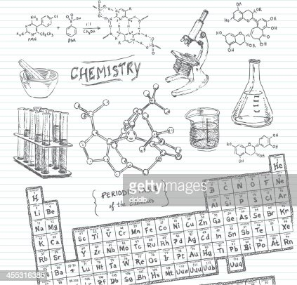 Chemistry doodle sketches vector art getty images for Table design sketch