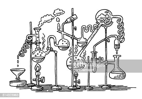 Chemistry Experiment Laboratory Drawing Vector Art   Getty ...