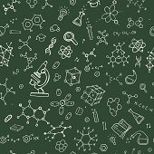 Chemistry hand draw background. Seamless Vector illustration