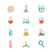 vector colored chemistry icons for learning and web applications