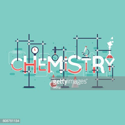 Chemistry infographic. Typographic poster. Banner. Flat design vector illustration. : Vector Art