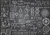 Chemistry Science Doodle Hand Drawn Elements in Gray Chalkboard Background. Science and School Education theme.