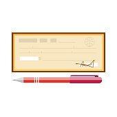 Cheque vector illustration. Cheque icon in flat style. Cheque book on background. Bank check with pen. Concept illustration pay, payment, buy.