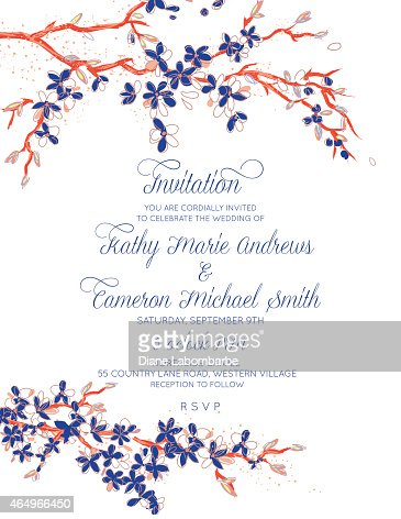 cherry blossom branches vertical wedding invitation on white vector art getty images. Black Bedroom Furniture Sets. Home Design Ideas