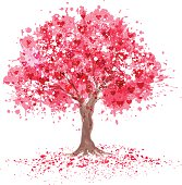 Pink tree in abstraction style. Transparent effect use.