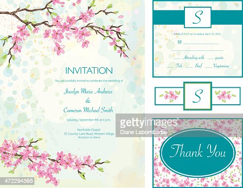 cherry blossom wedding invitation set vector art getty images. Black Bedroom Furniture Sets. Home Design Ideas