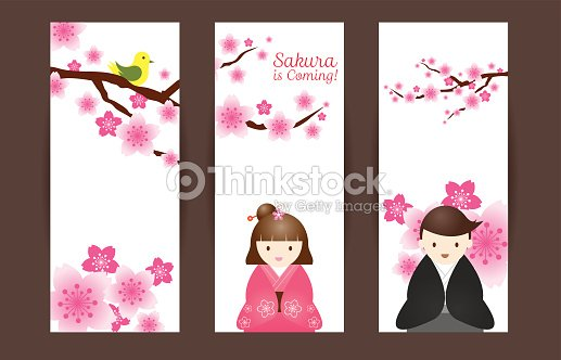Cherry blossoms or sakura flowers with japanese couple backdrop cherry blossoms or sakura flowers with japanese couple backdrop vector art stopboris Images